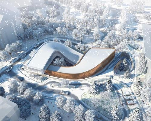 The Four Seasons Town Reception Center will feature a dynamic swooping form that evokes a sense of movement and relates the building to the surrounding mountain slopes and ski tracks / Group GSA