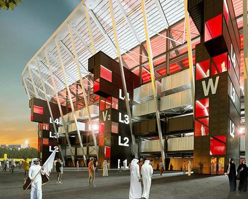 Recyclable materials will be used to to boost sustainability, with even the shipping containers used to ship the materials becoming part of the stadium / Supreme Committee for Delivery & Legacy