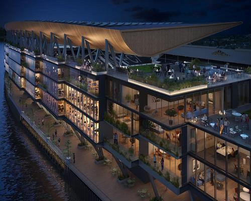 If approved, the scheme will see the creation of riverside pubs and restaurants, event facilities, green spaces and public access to a river walk along the Thames / Populous