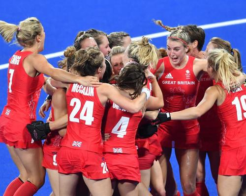 Team GB celebrate after winning a dramatic shoot-out with the Netherlands in the women's field hockey gold medal match at Rio 2016