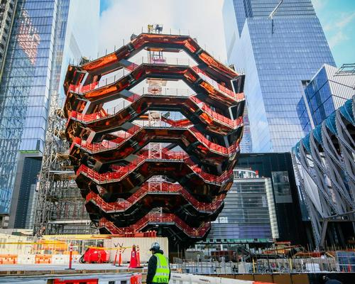 """The honeycomb-like structure, described by its creators as """"one of the most complex pieces of steelwork ever made"""" has reached its full height of 150ft (46m) / Oxford-Relate"""