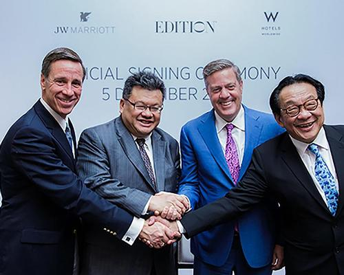 From left: Arne Sorenson, president and CEO, Marriott International; Dato' Yeoh, executive director of YTL Hotels; Craig Smith, president and MD of Asia Pacific, Marriott International; Tan Sri Dato' Francis Yeoh, MD of YTL Group of Companies / Marriott International