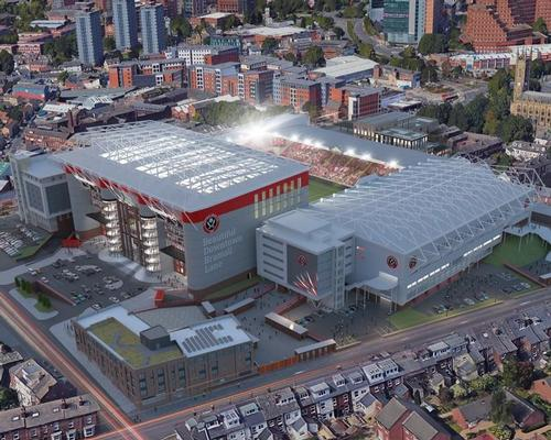 The proposed extension at Bramall Lane will see 5,400 seats added / Whittam Cox Architects