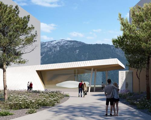 Passers-by at ground level will be drawn towards the new landmark from the resort's village square / Studio Seilern Architects