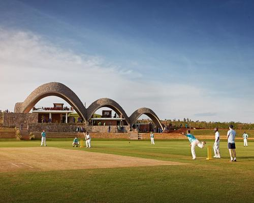 Rwandan cricket stadium opens with design inspired by bouncing ball