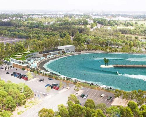 The artificial wave park – located 25km from the ocean – has been designed by architects MJA Studio in collaboration with the WavePark Group / WavePark Group