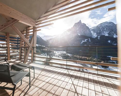 The architects were commissioned by the owners to design two new guest buildings offering views from every point of the nearby Schlern mountain / noa*