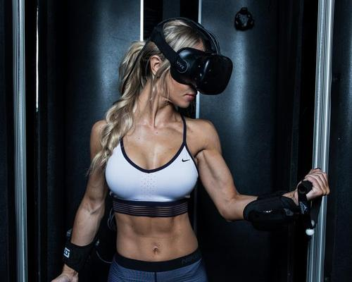 The gym system uses a fully automated cable resistance machine that integrates virtual reality hardware and virtual eSport software / Black Box VR