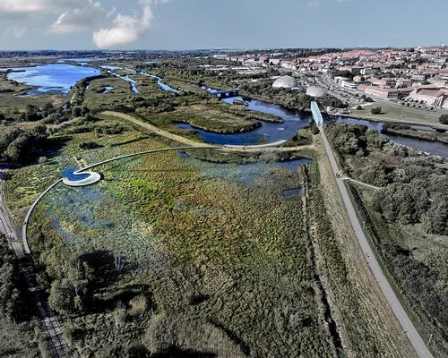 Stork Meadow will be converted by CF Møller's landscape team, with a network of streams leading rainwater from Randers' Vorup suburb into large purification basins in the park / C.F. Møller Architects