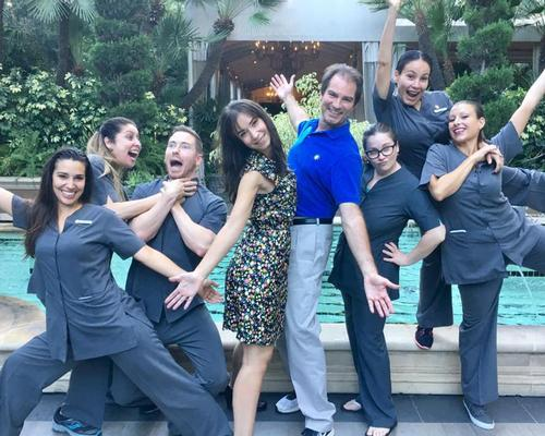 Jean-Guy de Gabriac, fifth from left, with the spa team from Four Seasons Los Angeles at Beverly Hills who helped create a new signature treatment / image courtesy of Jean-Guy de Gabriac