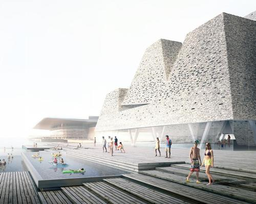 The Water Culture Centre, scheduled to open in 2021, will feature outdoor and indoor pools, waterfalls, harbour baths and sports facilities / Kengo Kuma and Luxigon