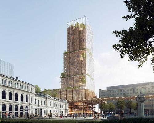The building's stacked modular timber structure will be exposed through a transparent glass facade