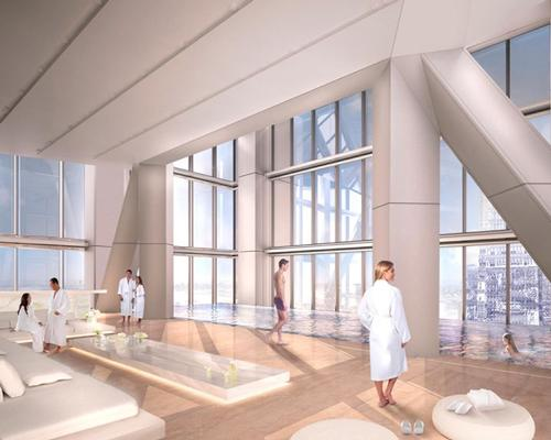 Above the hotel, the 57th-floor spa will include seven treatment rooms and an indoor infinity pool