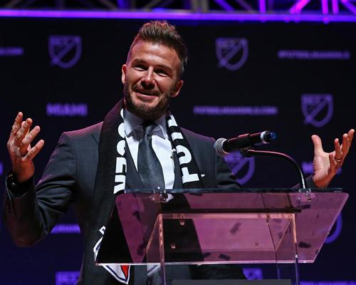 David Beckham made an emotional speech during the Miami expansion team announcement at the Adrienne Arsht Center today (29 January) / Aaron Doster/USA TODAY Network/SIPA USA/PA Images