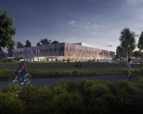 The complex, located on the corner of Portsmouth's Ravelin Park, is the first major phase of the university's £400m estate development masterplan / FaulknerBrowns