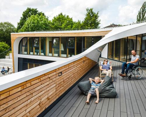 Designed in collaboration with Frankfurt studio Wenzel + Wenzel, the hostel's rooms, grounds and facilities are all fully accessible and equipped for active people of all abilities