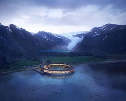 Situated at the foot of the Svartisen glacier, the project, called Svart, will consume around 85 per cent less energy than a modern Norwegian hotel / Snøhetta/Plompmozes