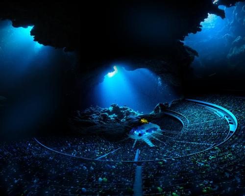 Visitors will be transported to underwater worlds, thanks to an interior bowl that features the largest and highest resolution media display on Earth / MSGC