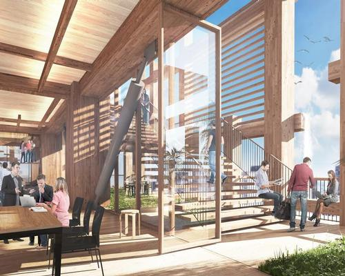 Hybrid wood and steel structure will provide support using a braced tube structure / Sumitomo Forest