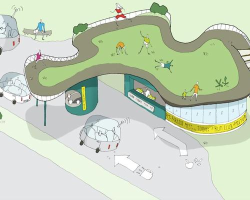 The proposal, called Get Pumped, is a long-term vision for adaptive reuse inspired by the rising demand for electric automobiles, which will lessen the demand for gas stations / Reebok