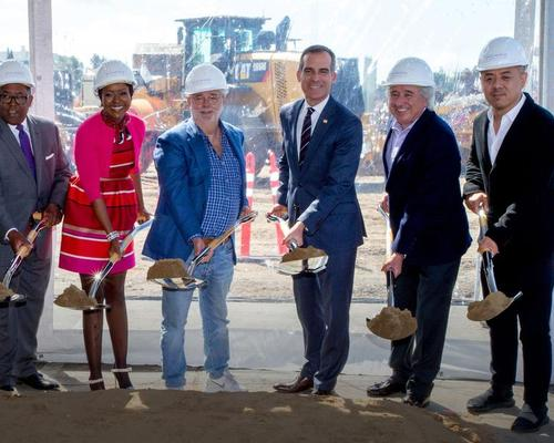 Mellody Hobson, George Lucas, LA mayor Eric Garcetti and architect Ma Yansong were all at the groundbreaking ceremony / Lucas Museum of Narrative Art