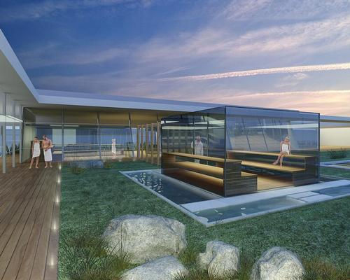 A large glazed sauna will be housed on the terrace and surrounded by different cold pools