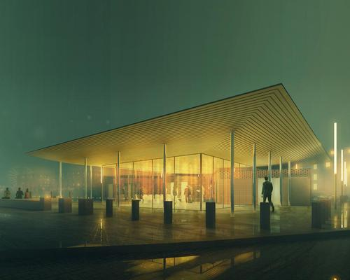 The pavilion will act as a welcome, information and event space, while also hosting multi-media events that showcase the history and heritage of Albert Dock / Visualisation by Post