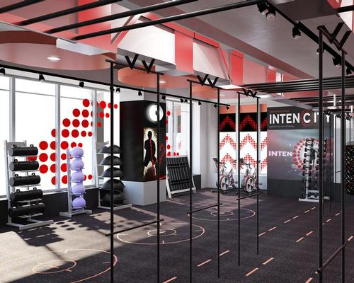 The Fusion brand's distinctive red and black aesthetics have been used across the separate exercising zones within the 100sq m (328sq ft) area / zynk Design