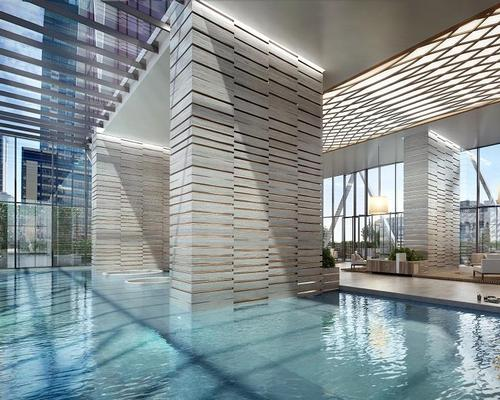 The hotel will include an indoor swimming pool with floor-to-ceiling windows