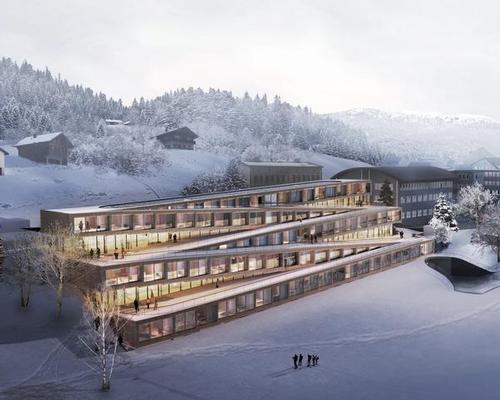 Hotel des Horlogers will be integrated into the topography of the landscape with five zigzagging room slabs  / Bjarke Ingels Group