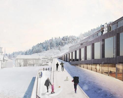 The hotel's sloping roof will be accessible to skiers during parts of the year / Bjarke Ingels Group