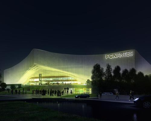 Spectators will be guided into the ground via differentiated entrances, formed by fluid lifts in the building's facade / FC Nantes
