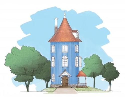 Several artistic renderings have been released of the park, one of which shows the Moomin's iconic home