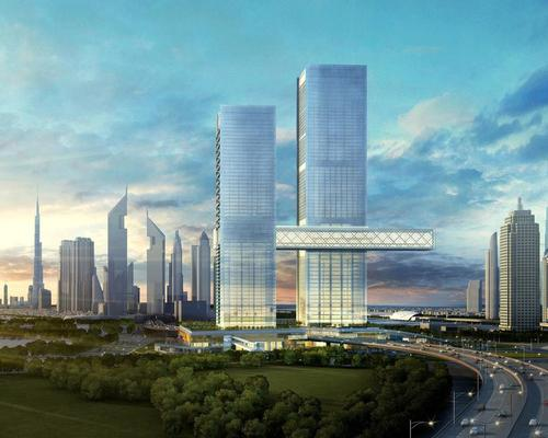 The two-tower, high-rise, mixed-use development of One Za'abeel will be home to a panoramic sky concourse, The Linx, which connects the two towers