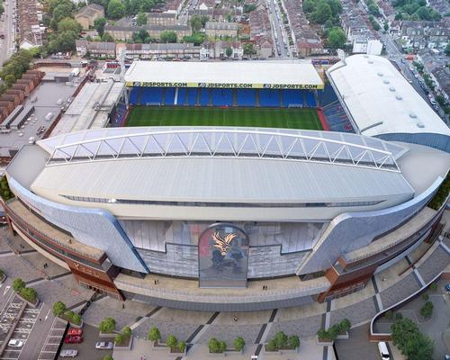 The centrepiece of the project is the new Main Stand: a five-storey structure featuring an all-glass front  / Crystal Palace