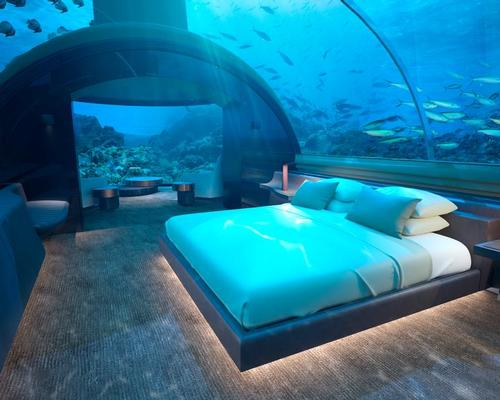 The undersea residence is a two-level structure, with a suite 5m (16.4ft) below the waves featuring a king size bedroom, living area and bathroom / 2018 Conrad Hotels & Resorts