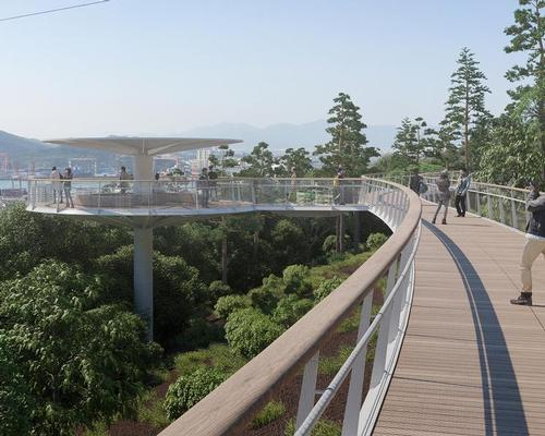 City officials want to create a large-scale network of elevated walkways, up to 4.5m wide, that will lead residents and visitors through the mountainous landscape of Xiamen / Dissing+Weitling