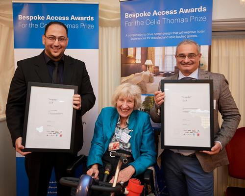 Award-winners Maher Hadid from MnM Studios (right) and Marcello D'Orsi (left) with Baroness Celia Thomas