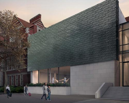 A striking metal canopy that will announce the museum's new street-facing entrance on Bridgeford Street / Purcell