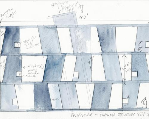 An early design painting of the Glassell School of Art / Steven Holl Architects