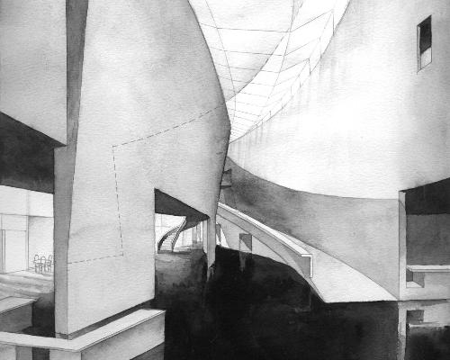 Holl's sketch of the Kiasma Museum of Contemporary Art in Helsinki / Steven Holl Architects