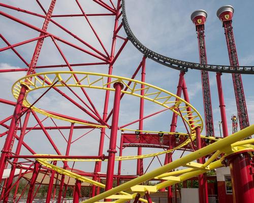 Junior Red Force sits within the shadow of the record-breaking Red Force launch coaster