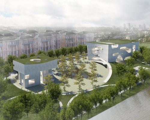 How the completed Shanghai Cofco Cultural & Health Centeis expected to look / Steven Holl Architects