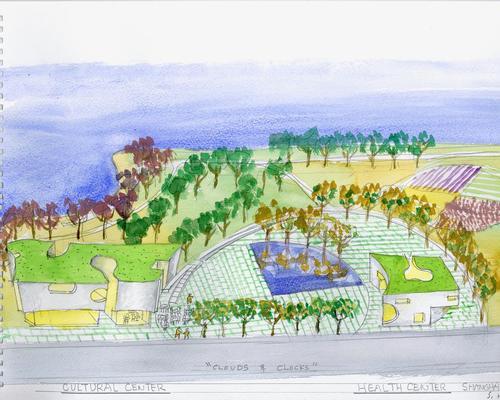 Holl's watercolour for the Shanghai Cofco Cultural & Health Center / Steven Holl Architects