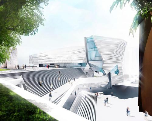 A grand public staircase will curve towards the entry, linking the museum to the Segerstrom Center for the Arts' Argyros Plaza / Morphosis