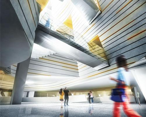 A soaring, light-filled lobby atrium will be overlooked by a hovering space for performance and education / Morphosis
