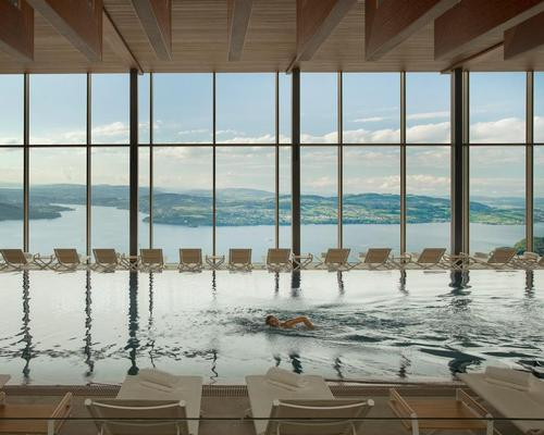 Perched on the mountainside 450 metres above Lake Lucerne, the 10,000sq m, three-level spa was a key element in the recreation of Bürgenstock Resort