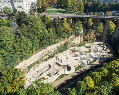 The multi-level park has been built beneath the stony fortified buildings of Vauban in the Peitruss Valley, which separates Luxembourg's Old and New Towns
