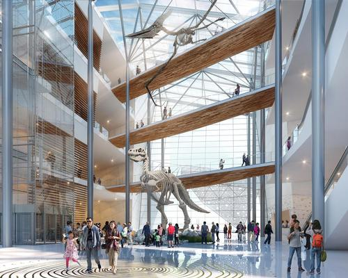 A series of sky bridges will cross the atrium, connecting the exhibits with the public amenities on either side / Steelblue