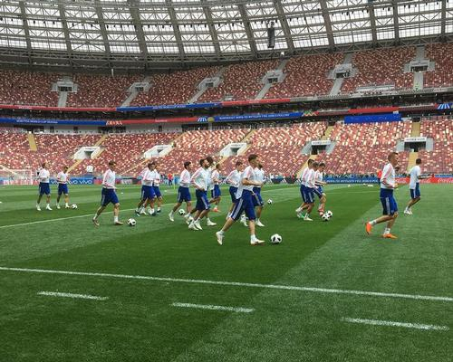 The Russian squad training on the part-artificial SISGrass pitch ahead of the opening game
